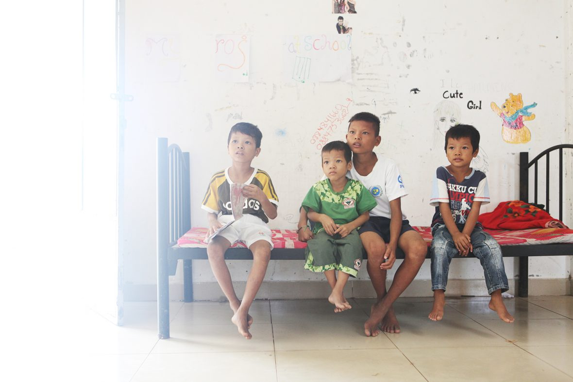 Four brothers now living at a state orphanage in Siem Reap, Cambodia, 2016, after suffering physical abuse from their fathers home.