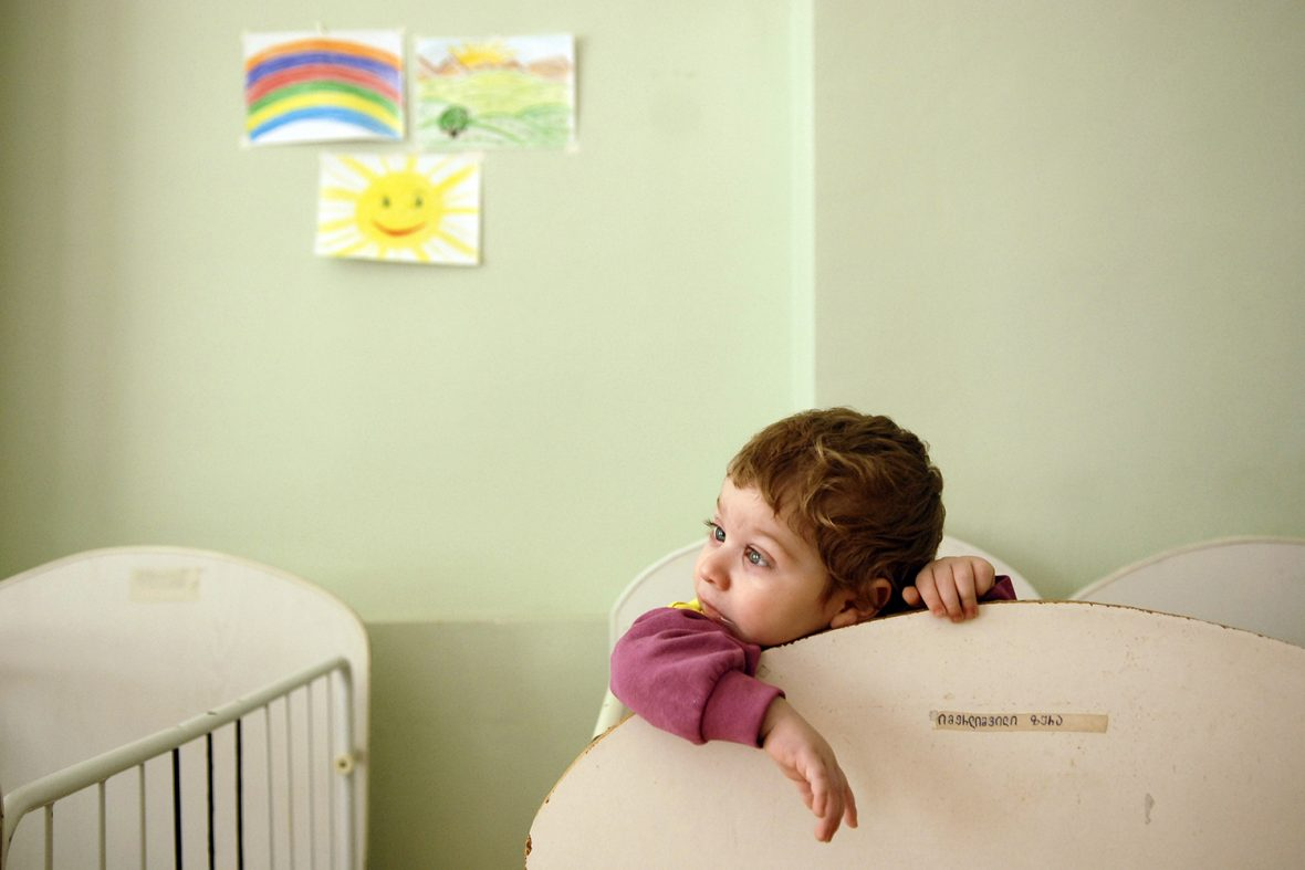 UNICEF Goodwill Ambassador James Nesbitt visits a home for mentally and physically disabled children, abandoned by their parents.  Tbilisi, Georgia