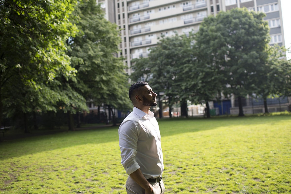 Abrar Hussain, 32, from Pakistan, chose to be photographed in King Square Gardens, in Angel because 'I got a little flat next to the park there. It was a dream come true. It gave me stability. I felt 'this is my place.''