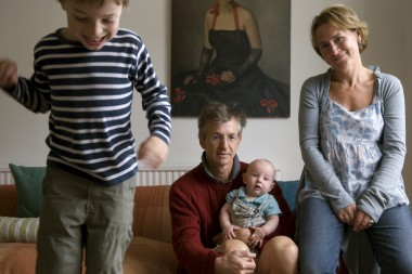 Richard Addis and Helen Schlesinger with their children Theo and Sebastian