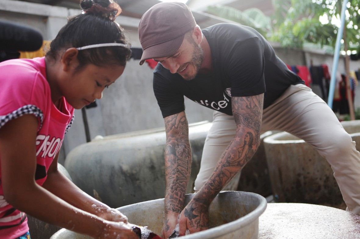 Photographed David Beckham in Siem Reap, Cambodia, this week, visiting Unicef supported centres, helping children who have endured violence and abuse.