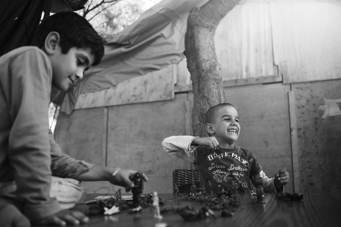 Children play in PIKPA village, Lesbos, which provides safe accommodation and a welcoming environment for particularly vulnerable refugees, including women who have lost their children during the crossing, and adults and children with physical disabilities. PIKPA village is a former summer camp, transformed in 2012 into a refugee haven by volunteers with support from the local authorities.  It is community-run, and one of its founders, Efi Latsoudi, is one of the joint 2016 winners of UNHCR's Nansen Refugee Award.